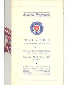 At Port Vale - English Schools North v South International Trial Match 13/03/1937