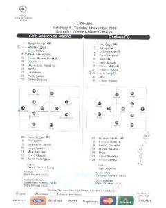 Atletico Madrid v Chelsea official line-ups 03/11/2009