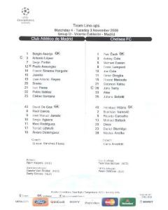 Atletico Madrid v Chelsea official teamsheet 03/11/2009