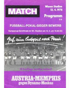 1978 European Cup Winners Cup Semi-Final Austria Memphis v Dynamo Moscow official programme