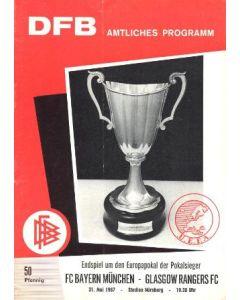 1967 Cup Winners Cup Final Official Programme Bayern Munich v Glasgow Rangers 31/05/1967