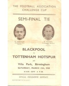1948 Blackpool v Tottenham Hotspur official programme 13/03/1948 FA Cup Semi-Final