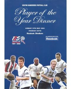 Bolton Wanderers FC Player of the Year Dinner booking form 11/05/2003