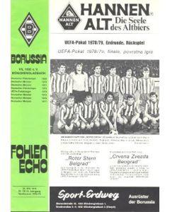 1979 UEFA Cup Final Official Programme Borussia Monchengladbach v Red Star Belgrade 09/05/1979
