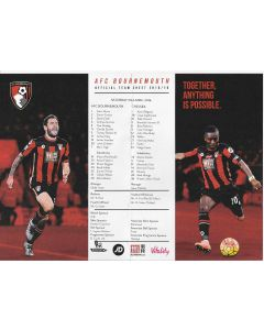 2016 Bournemouth V Chelsea Original Colour Team Sheet