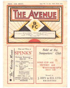 1938 Bradford Park Avenue v Stoke City football programme