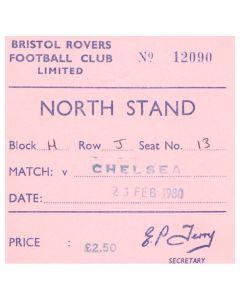 1980 Bristol Rovers v Chelsea football ticket