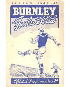 Burnley v Blackpool official programme 11/10/1947