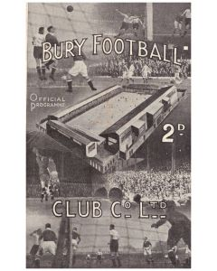 1946 Bury v West Bromwich Albion football programme