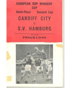 1968 European Cup Winners Cup Semi-Final Cardiff City v Hamburg Pirate programme