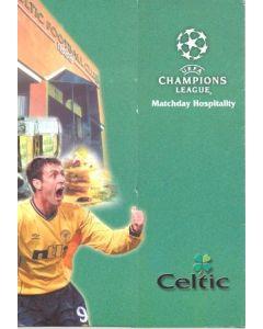 Celtic v Porto menu 25/09/2001 Champions League