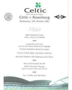 2001 Celtic v Rosenborg menu 10/10/2001