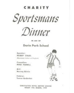 Charity Sportsmans Dinner menu 19/03/1999