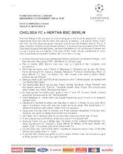 Chelsea v Herta Berlin press pack 03/11/1999