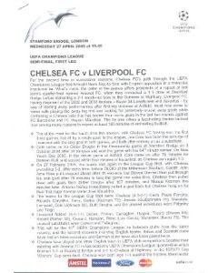 Chelsea v Liverpool press pack 27/04/2005