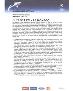 Chelsea v Monaco Press Pack 05/05/2004 Champions League Semi-Final, without folder