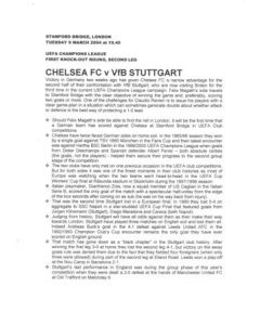 Chelsea v Stuttgart press pack 09/03/2004 Champions League
