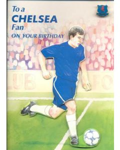 To a Chelsea Fan on Your Birthday greetings card with a badge