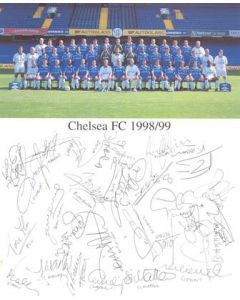 Chelsea FC 1998-1999 card with a team photograph and facsimile signatures of the entire team