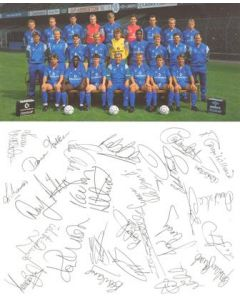 Chelsea card with a colour team photograph and facsimile signatures