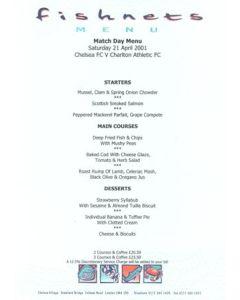 Chelsea v Charlton Athletic Fishnets menu 21/04/2001 Premier League