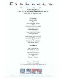Chelsea v Manchester United Fishnets menu 10/02/2001 Premier League