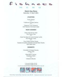 Chelsea v Southampton Fishnets menu 14/04/2001