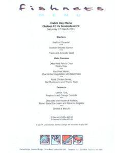 Chelsea v Sunderland Fishnets menu 17/03/2001 Premier League