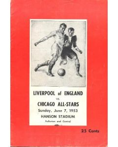 In the USA - Chicago All-Stars v Liverpool official programme 07/06/1953