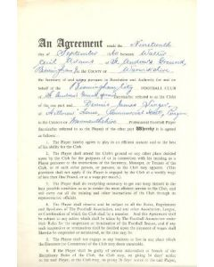 Contract For Hire of a Player between Birmingham City F.C. and Dennis James Singer of 19/09/1960