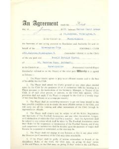Contract For Hire of a Player between Birmingham City F.C. and Donald Patrick Weston of 01/06/1960