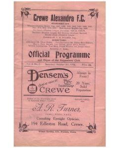 crewe v doncaster 1925 football programme