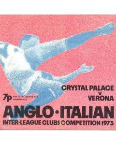 Crystal Palace v Verona official souvenir handbook 14/02/1973 Anglo-Italian Inter League Clubs Competition