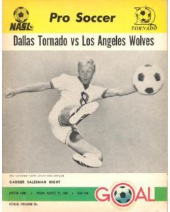 1968 Dallas Tornado v Los Angeles Wolves official programme 23/08/1968
