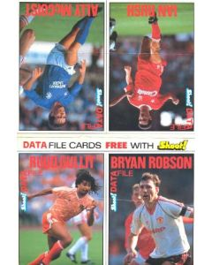 Data File Cards Free with Shoot! - four colour cards with Ruud Gullit, Bryan Robson, Ian Rush and Ally McCoist