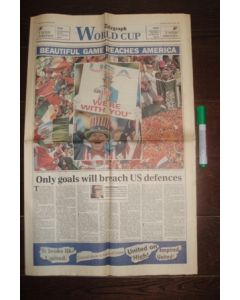 1994 World Cup - Daily Telegraph World Cup newspaper 13/06/1994