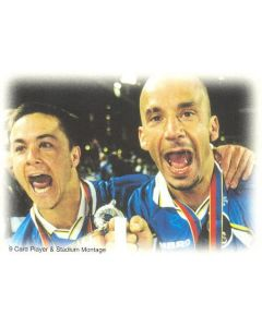 Chelsea card of 1999 featuring Dennis Wise and Gianluca Vialli
