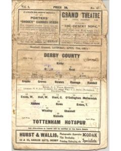 Derby County v Tottenham Hotspur official programme 07/04/1934
