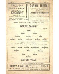 Derby County v Aston Villa official programme 05/01/1935