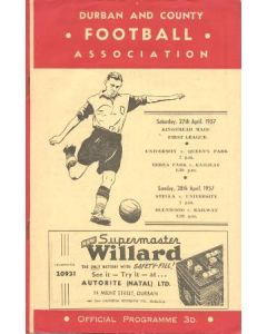 1957 Durban And County Football Association, South Africa official programme 27/04/1957