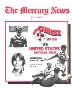 1985 Earth Quakes San Hose v United States National Team official programme 19/06/1985