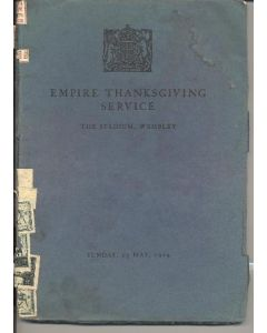 At Wembley - Empire Thanksgiving Service - programme and song book - 24/05/1925