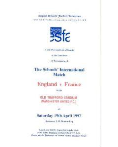 At Manchester United England v France menu 19/04/1997 Schools' International Match