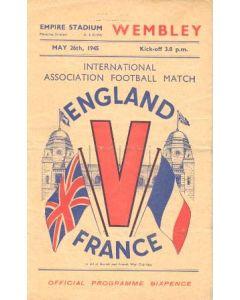1945 England v France official programme 26/05/1945
