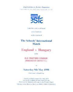 At Manchester United England v Hungary menu 09/05/1998 Schools' International Match