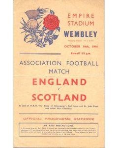 1944 England v Scotland official programme 14/10/1944