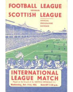 1951 Football League v Scottish League official programme 31/10/1951