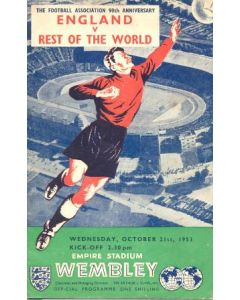 1953 England v The Rest Of The World official programme 21/10/1953