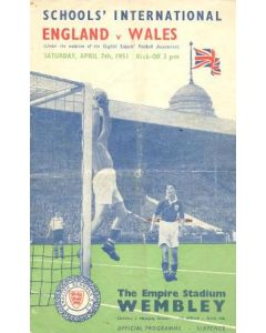 1951 England v Wales official programme 07/04/1951