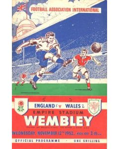 1952 England v Wales official programme 12/11/1952